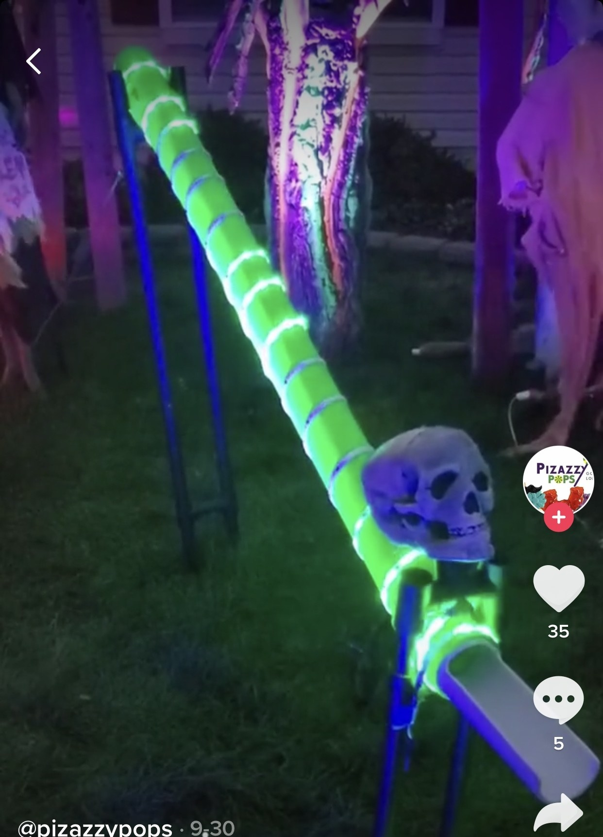 Glow-in-the-dark chute with a skull at the bottom