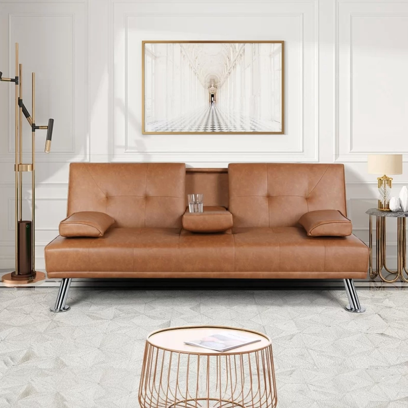 The convertible sofa in brown faux leather