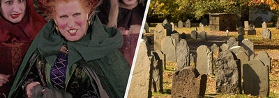 Sanderson Sisters from Hocus Pocus and a Salem graveyard