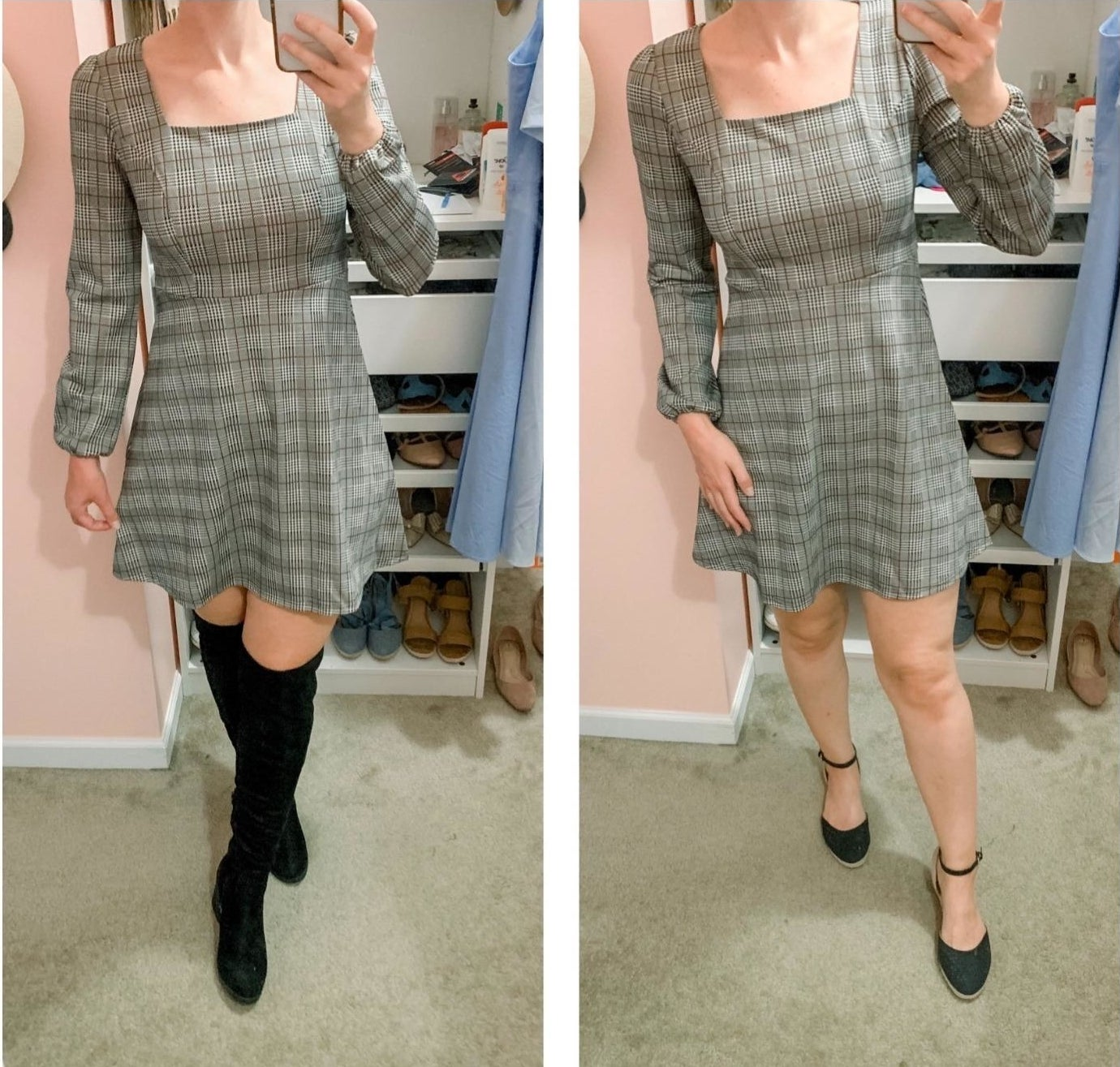 A reviewer wearing the gray balloon sleeve mini dress with over-the-knee boots and then with ankle-strap wedges