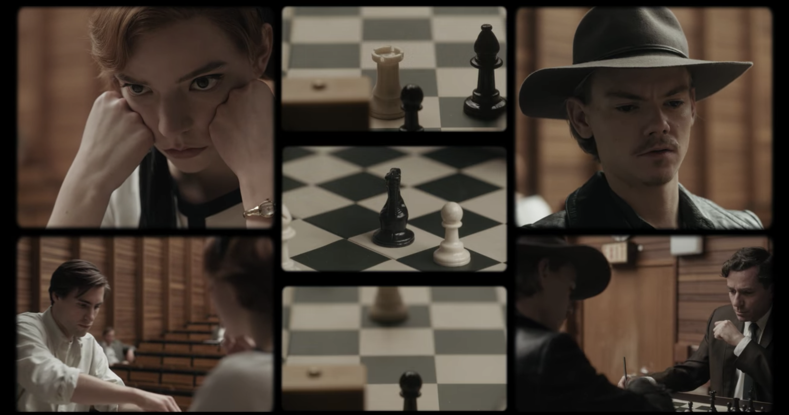 Various shots of chess matches and the actors playing them