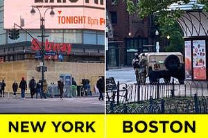 """一个城登上了起来,而另一个与军队车辆;标有""""纽约""""和""""波士顿"""""""