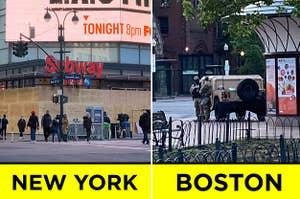 """One city boarded up, and another with an army vehicle; labeled """"New York"""" and """"Boston"""""""