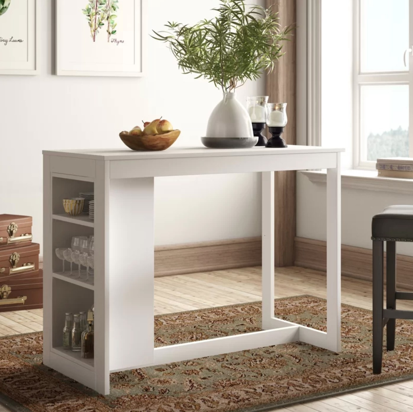 The counter height dining table in white