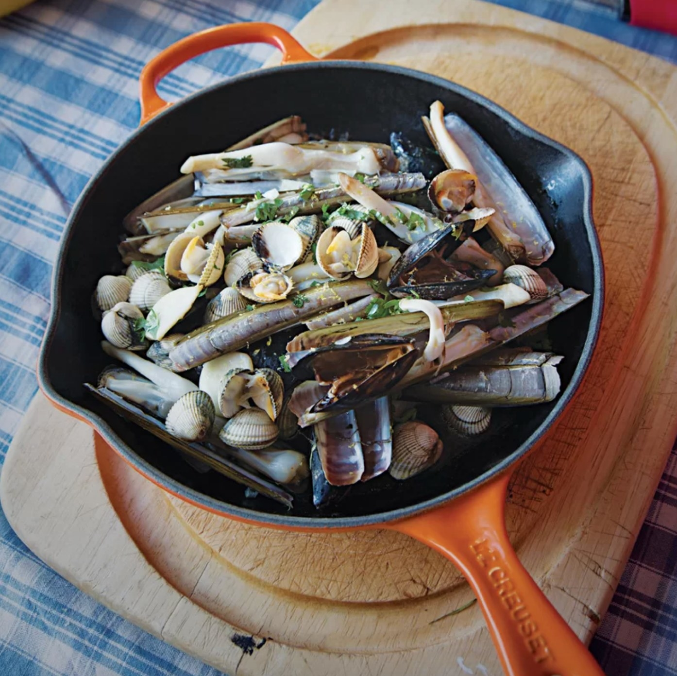 The Le Creuset cast-iron skillet in flame