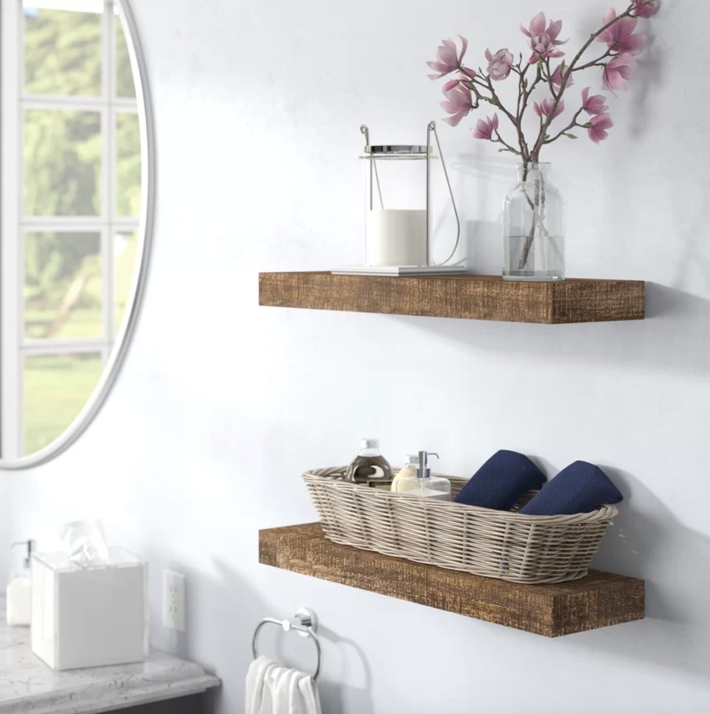 The set of wood shelves in dark walnut