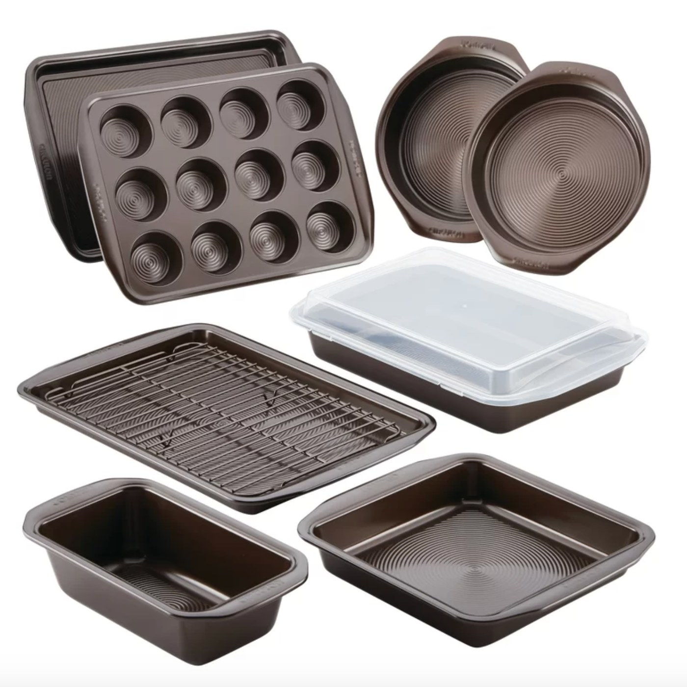 The ten-piece baking set with a muffin tray, loaf pan, and much more