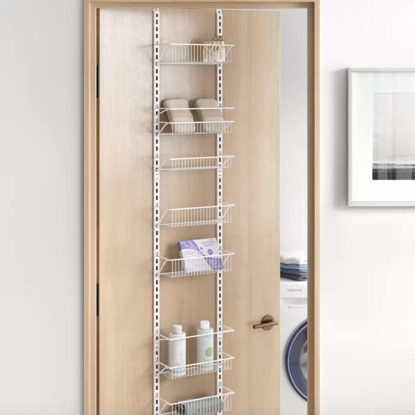 The cabinet door organizer in white