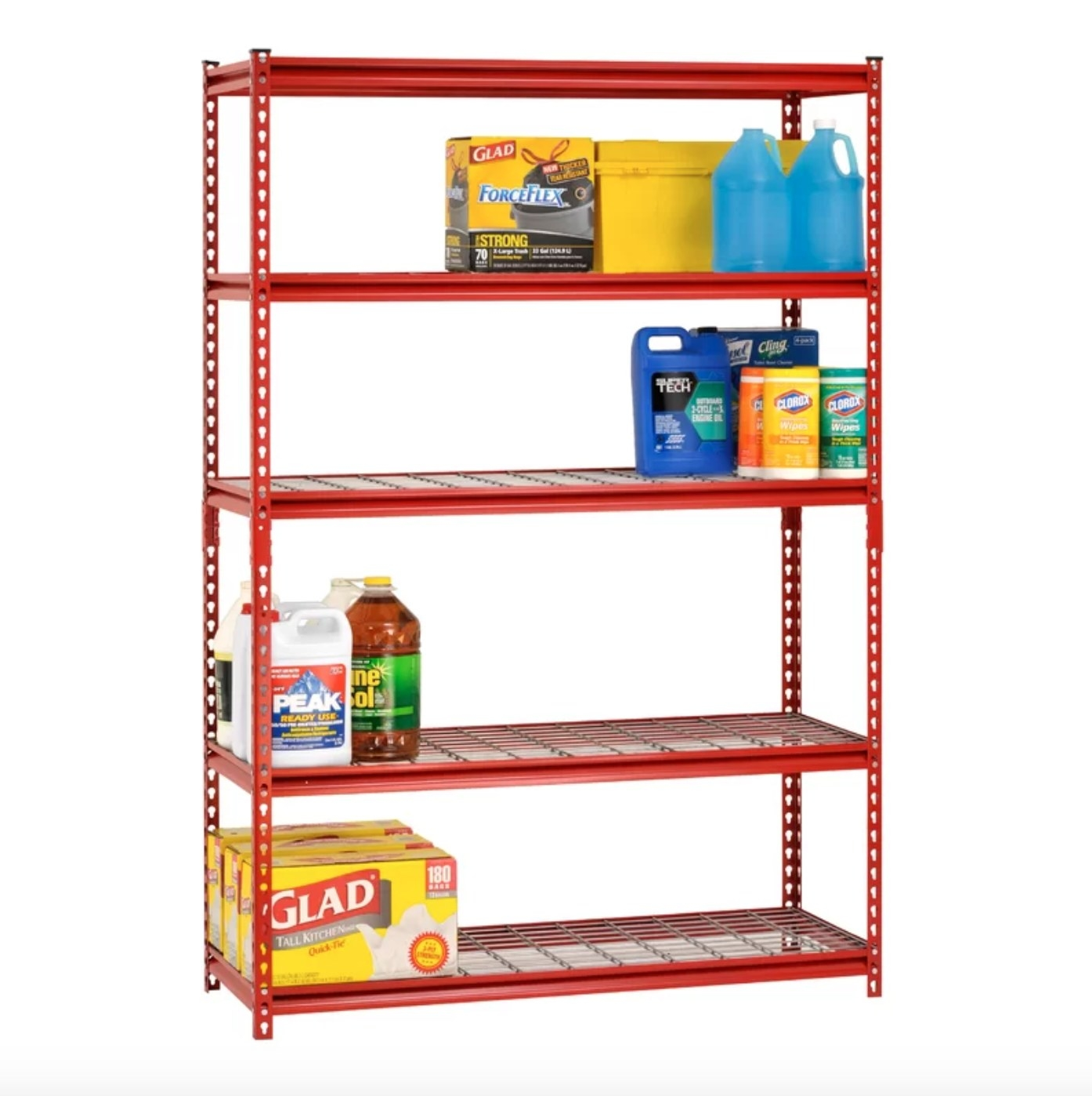 The storage shelf in red holding cleaning items