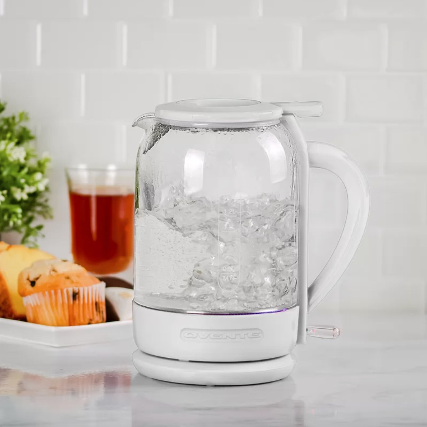 The electric glass tea kettle in white