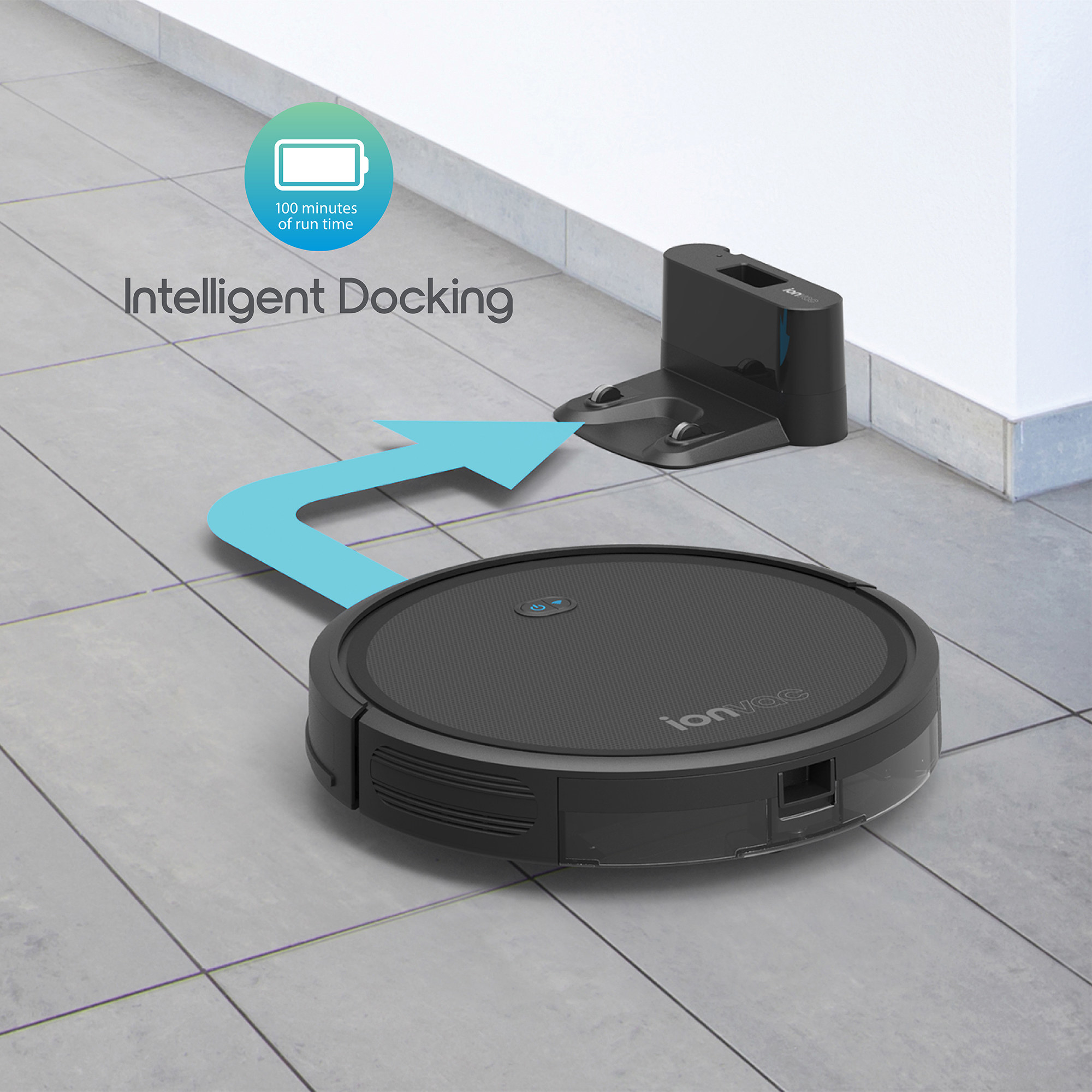 The black robot vacuum