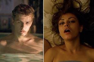 """并排方在""""诱惑性""""和米拉库尼斯在床上池瑞恩菲利普的""""朋友与优势"""