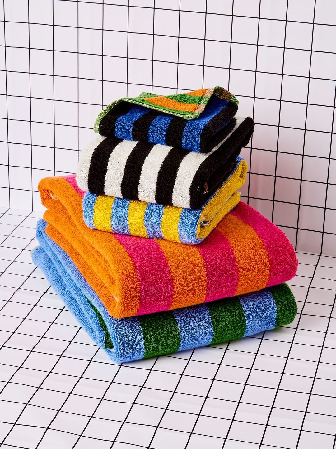 The multicolored striped towels