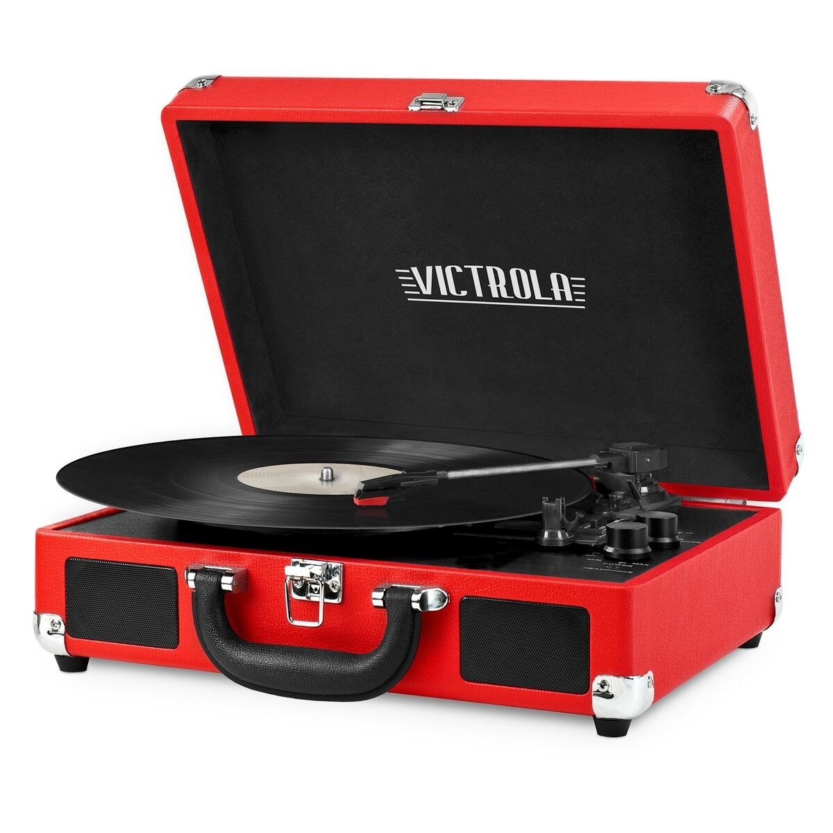 The red Victrola Bluetooth record player