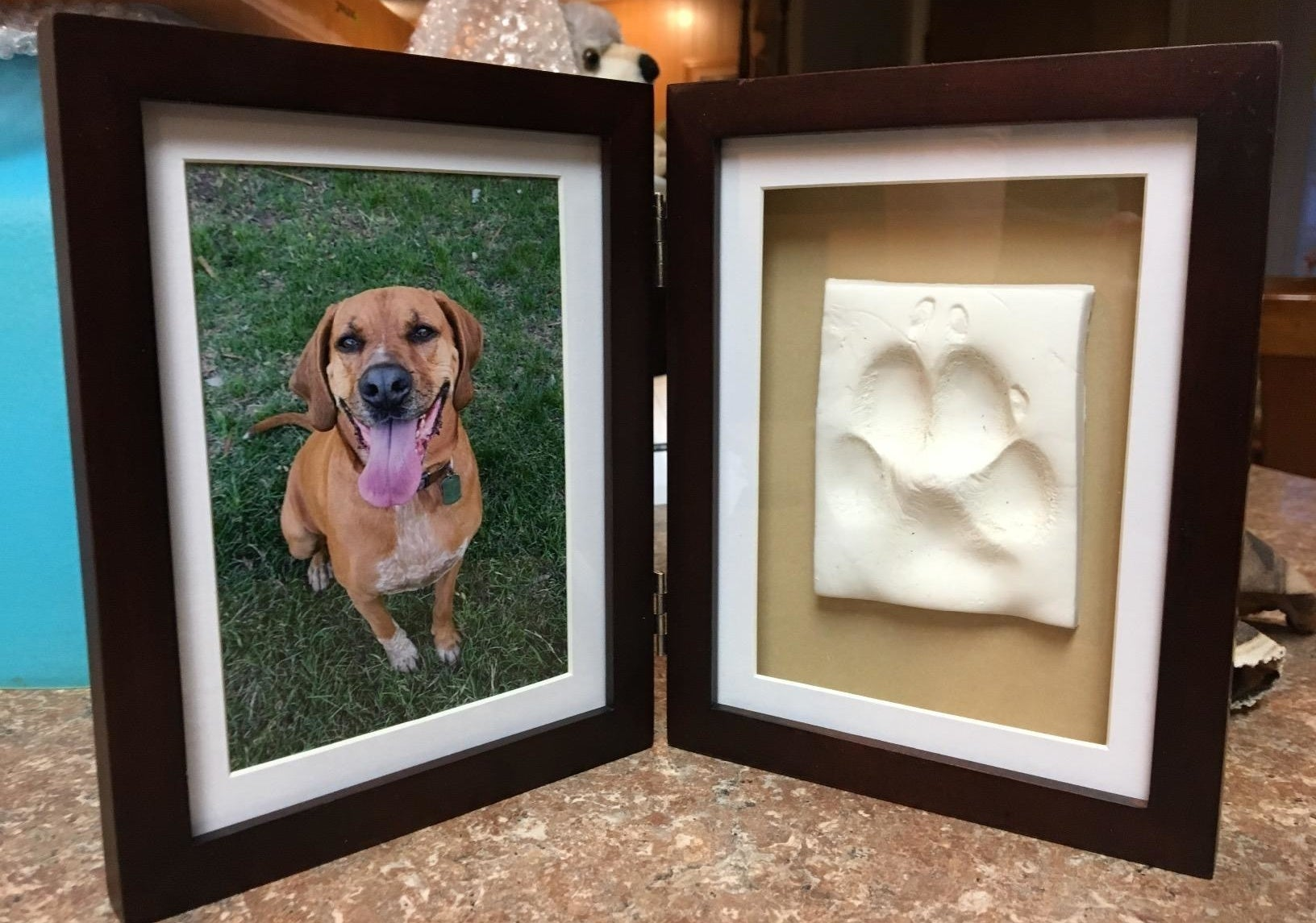 Reviewer image of an photo frame with picture of their dog and a paw clay impression on the other side
