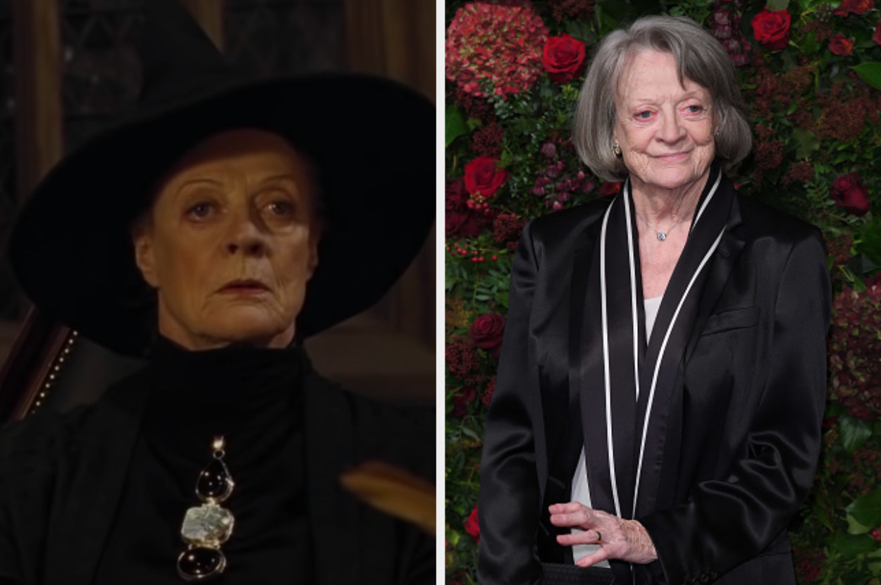 McGonagall wearing her witch's hat on the left and Maggie Smith posing at an event on the right