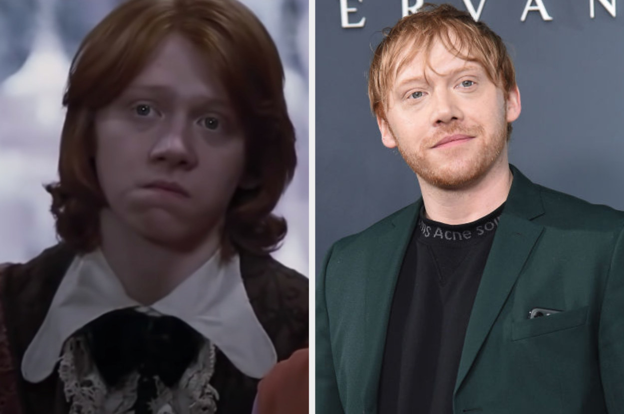 Rupert as Ron on the left wearing his ruffled Yule Ball attire, and a bearded Rupert posing at an event on the right