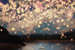 the wish lanterns over a lake print