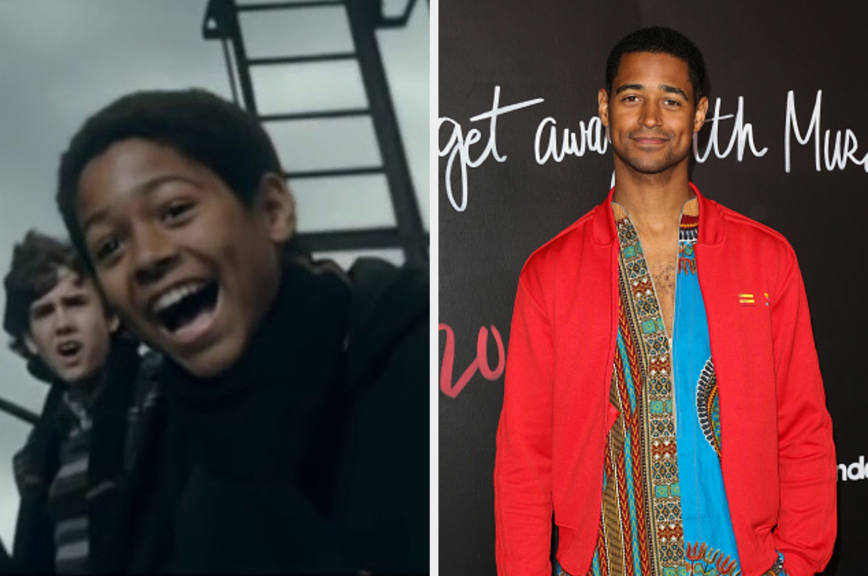 Dean Thomas laughing on the left, and Alfred Enoch smiling on a red carpet on the right