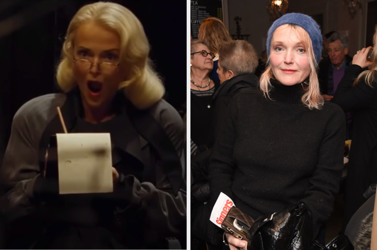 Rita Skeeter writing down salacious news on the left and Miranda posing for a picture on the right
