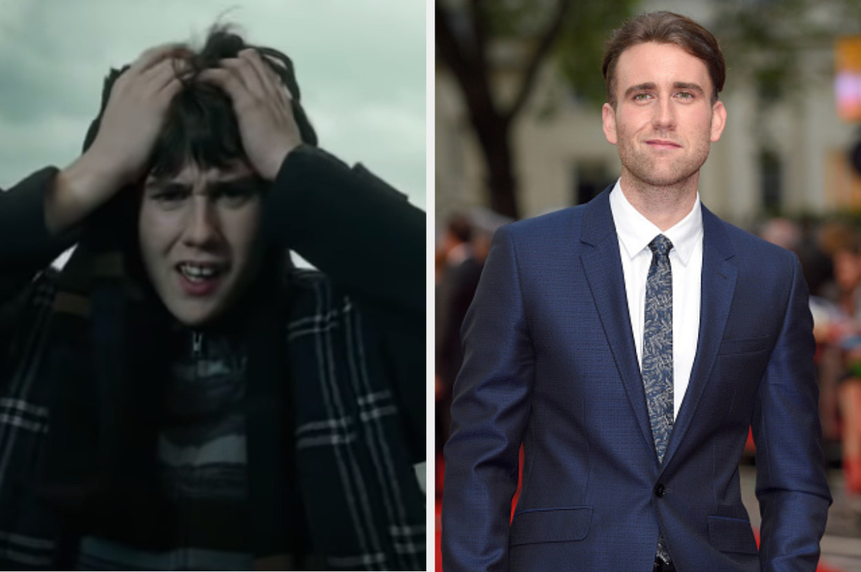 Matthew as Neville holding his head in fear on the left, and Neville in a suit posing on a red carpet on the right