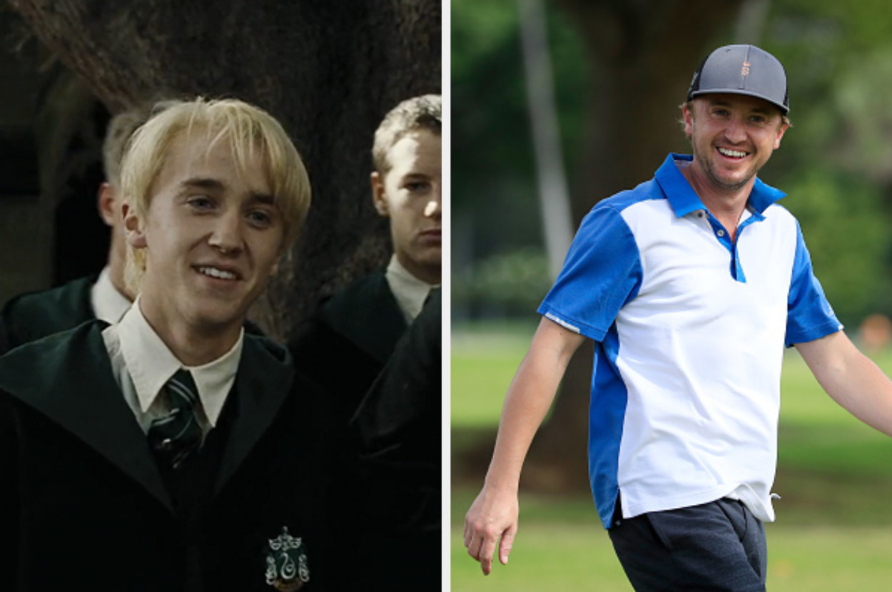 Tom as Draco in his Slytherin uniform and blond hair on the left and Tom wearing a golfing cap on the right