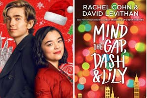 Promo images of the Dash and Lily Netflix series next to the book cover of Mind the Gap, Dash & Lily by Rachel Cohn & David Levithan