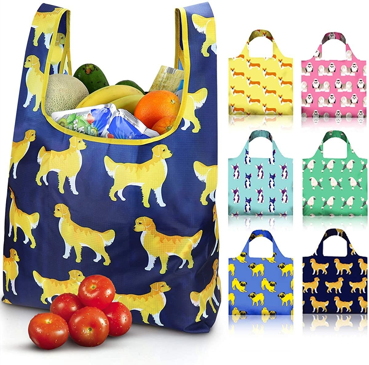 Seven varieties of the shopping bags with golden retrievers, pugs, poodles, corgis, and chihuahuas on them