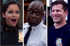 Amy looking shocked, Holt giving a judgemental look, and Jake smiling nervously