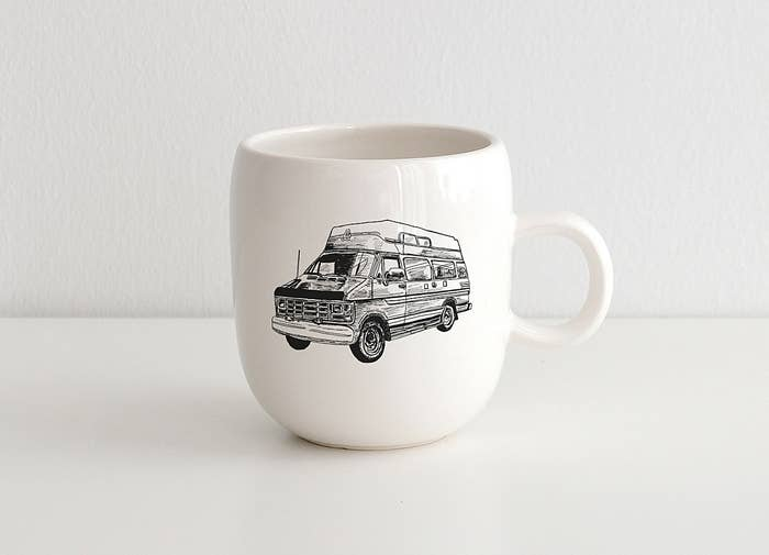 mug with RV drawing printed on it