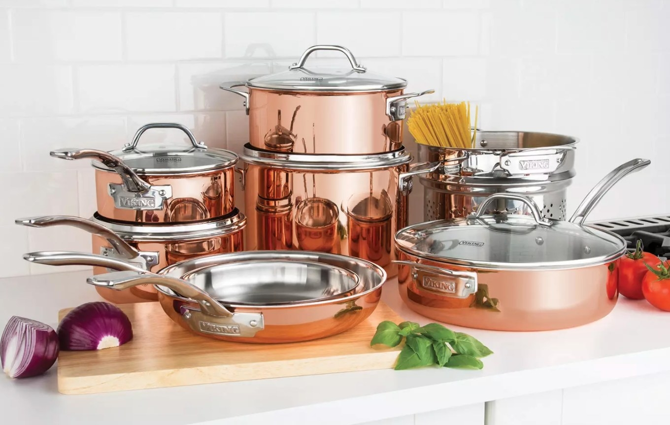 The 13-piece cooper cookware set