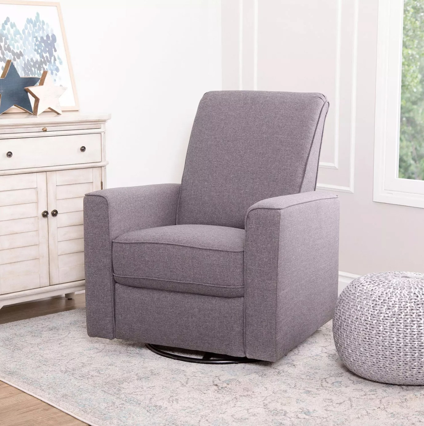 The swivel glider recliner in grey