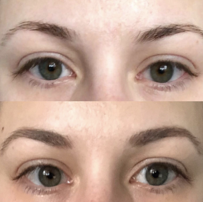 Reviewer before and after photo using brow gel