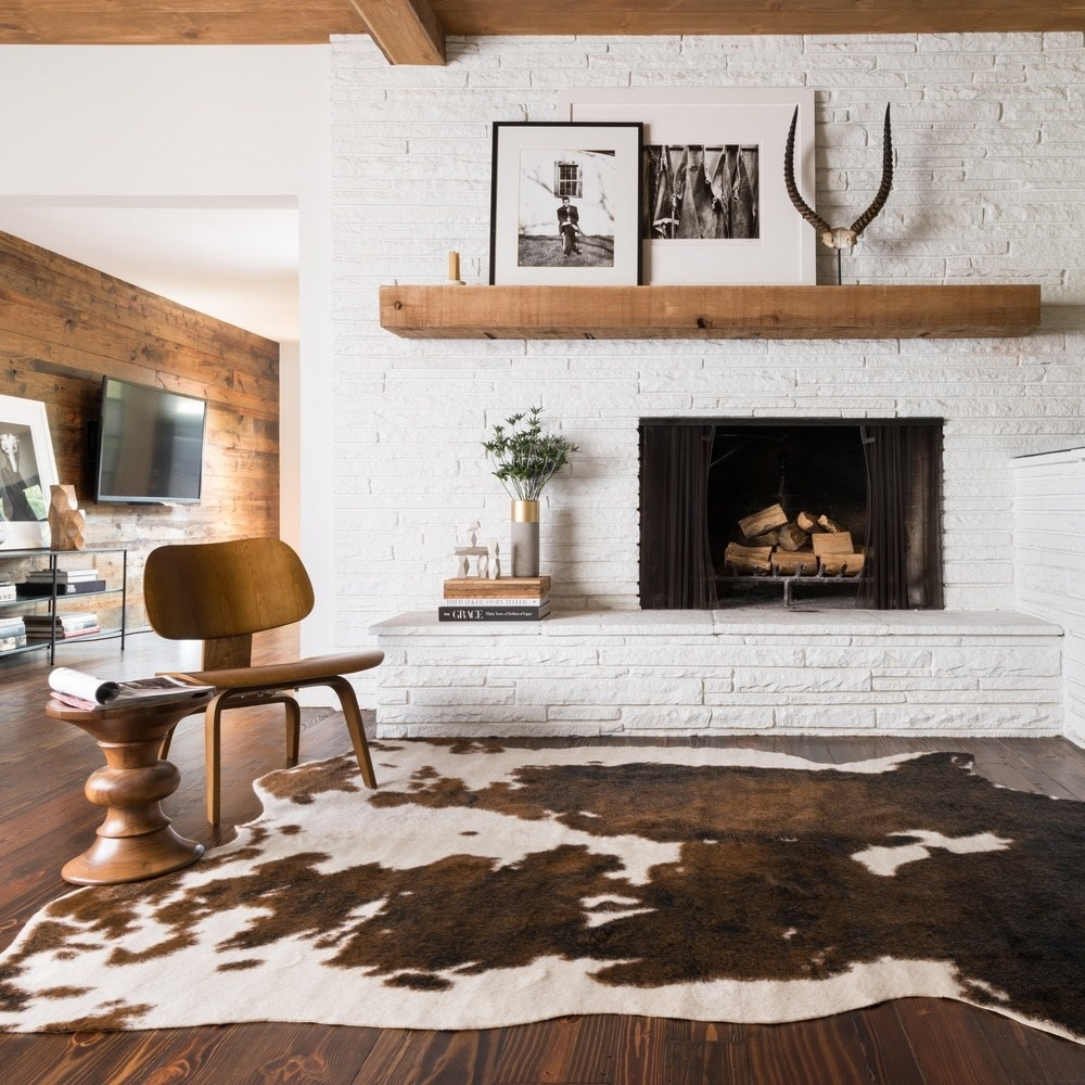 The brown and white faux cowhide rug