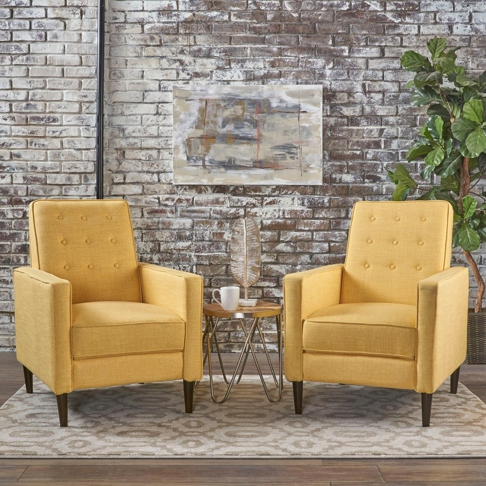 The mid-century recliners in muted yellow