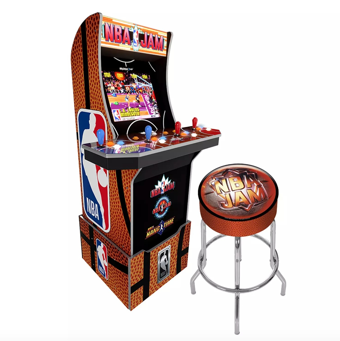 The NBA jam deluxe arcade game with a stool