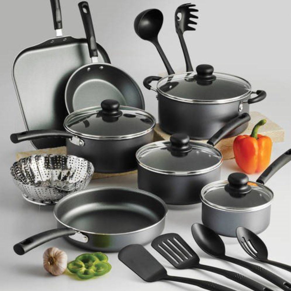 The 18-piece non-stick cookware set in steel gray.