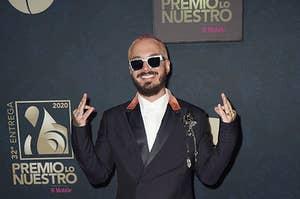 J Balvin poses backstage during Univision's Premio Lo Nuestro 2020 at AmericanAirlines Arena on February 20, 2020 in Miami, Florida