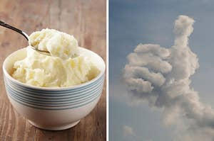 mashed potatoes and god giving the thumbs up