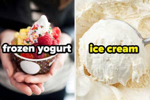 A cup of frozen yogurt with toppings next to a big scoop of vanilla ice cream