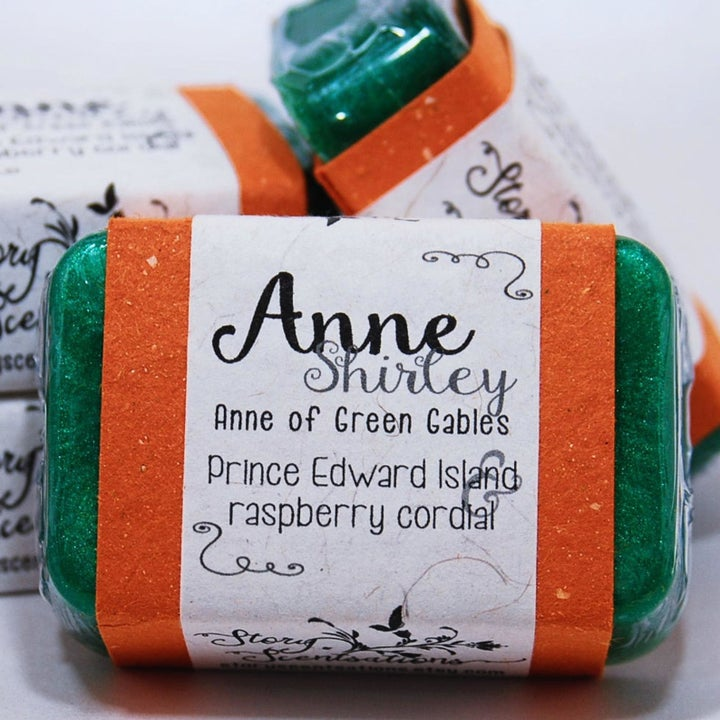 A green Anne Shirley themed soap