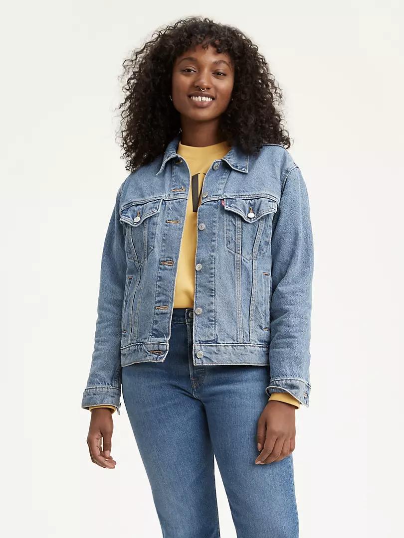 model wears denim jacket