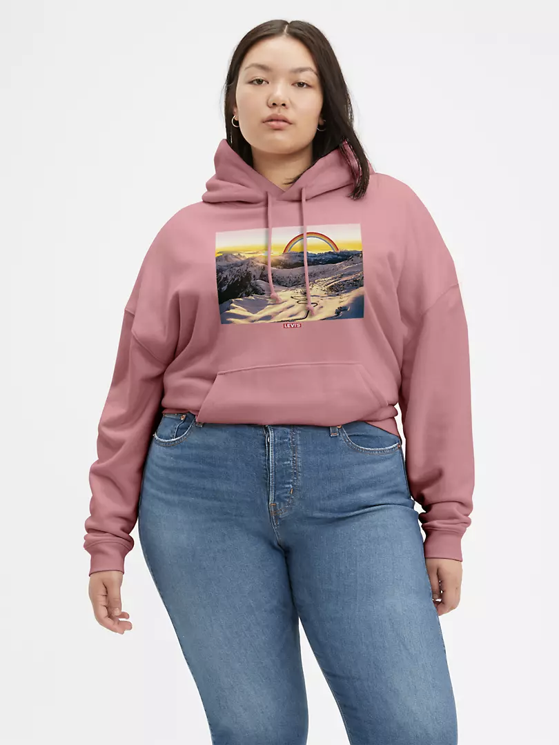 hoodie with photo of ski slopes with sunset and cartoon rainbow