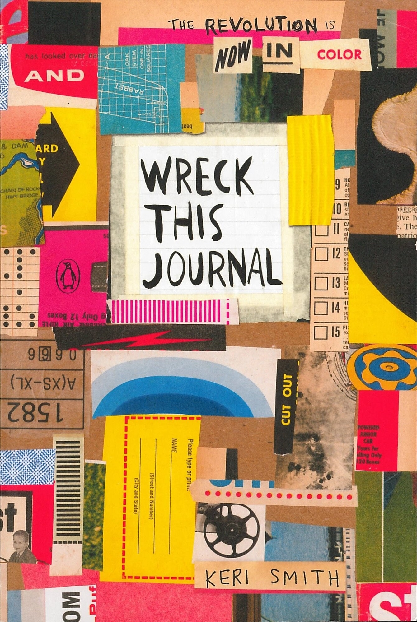 Pieced together book cover with design of several scraps of paper
