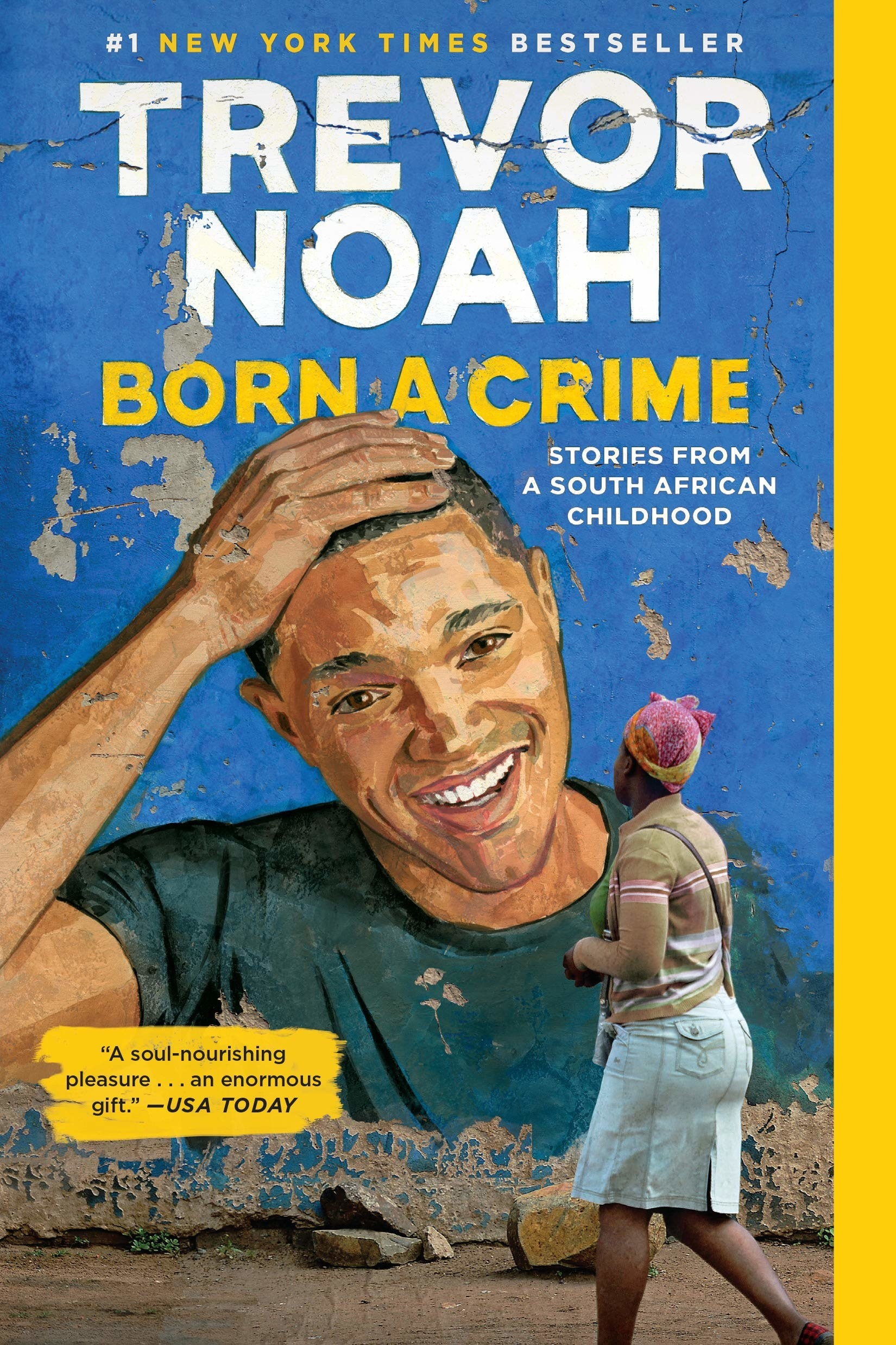 Photographed cover of person looking at mural of Trevor Noah on a wall