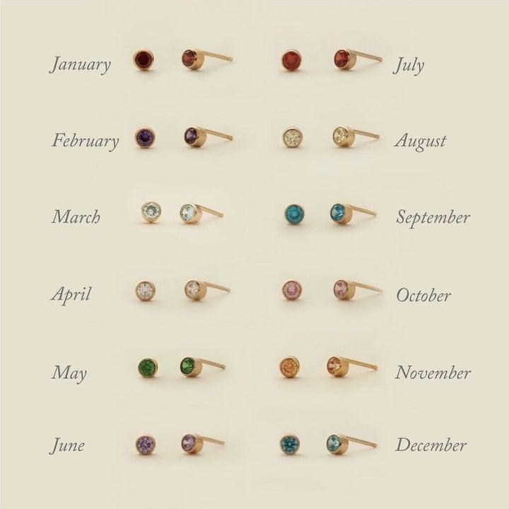 the gemstone earrings in 12 different birthstones