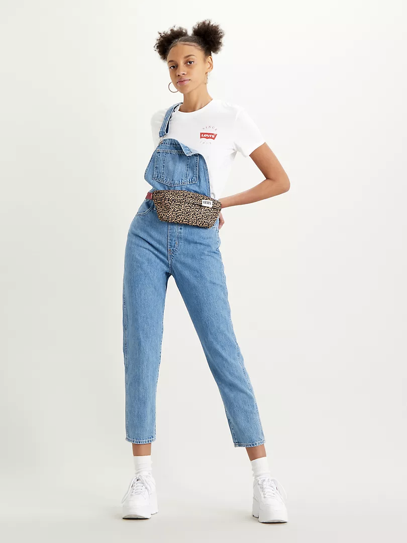 light wash overalls that hit mid calf