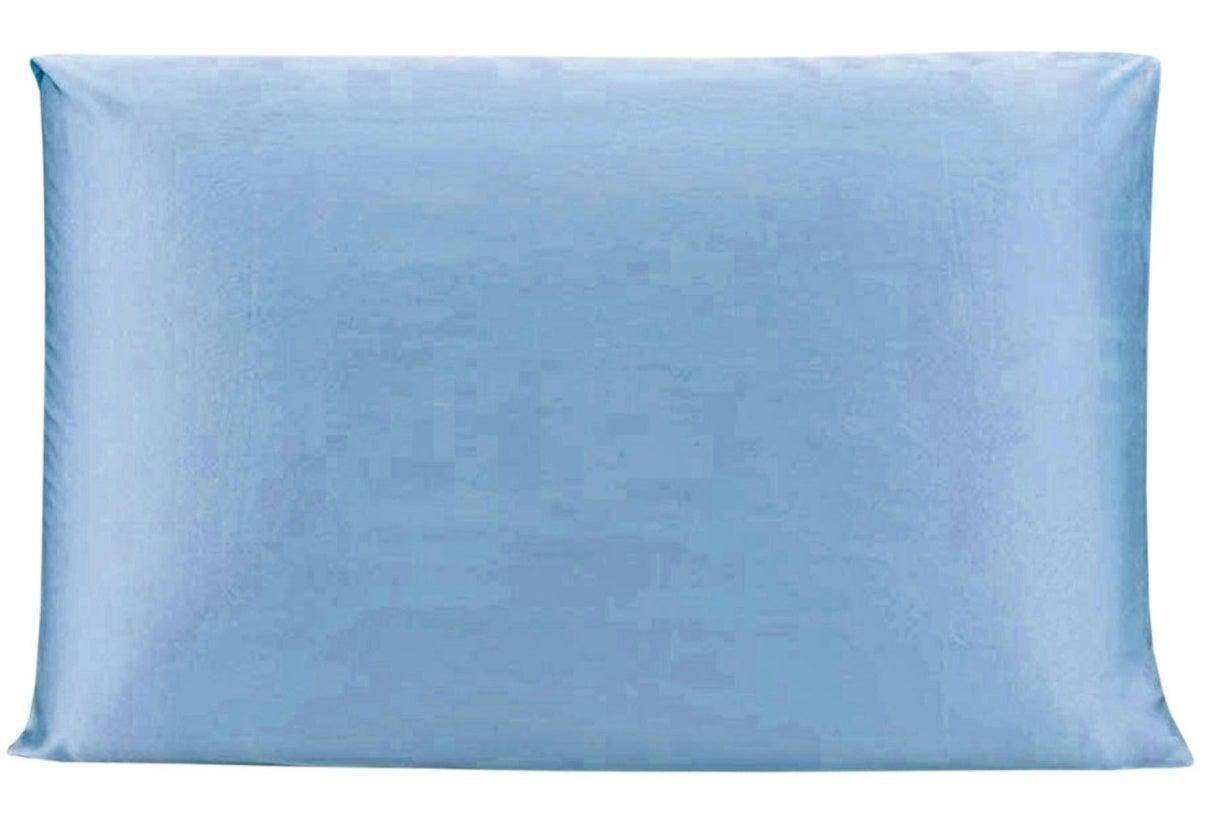 The silk pillowcase in light blue