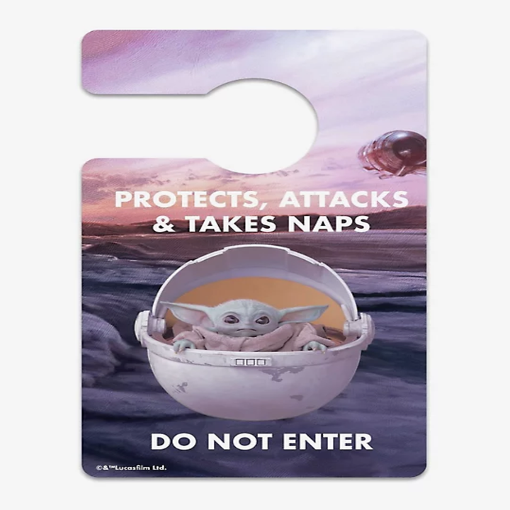 "Reverse side of Baby Yoda in his little carrier that says ""Protects, Attacks, and Take Naps, do not enter"""