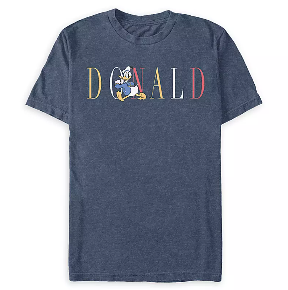 "a gray t-shirt with ""donald"" written on it in red white and yellow letters with donald strutting across them"